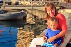 Mother and son at the quay Royalty Free Stock Image