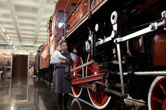 Mother with son at railway museum Royalty Free Stock Photo