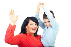 Mother with son raising hands royalty free stock images