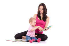 Mother son read book Royalty Free Stock Image