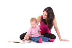 Mother son read book Stock Photos