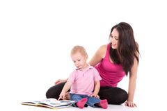Mother son read book Stock Image