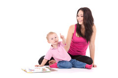 Mother son read book Stock Images