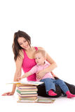 Mother son read book Stock Photos
