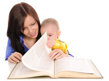 Mother and son reading. Royalty Free Stock Photo