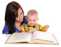 Mother and son reading. Royalty Free Stock Images