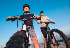 Mother with son ready for bicycle ride Royalty Free Stock Photo