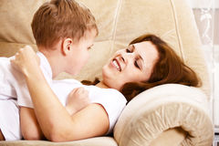 Mother and son resting Royalty Free Stock Image
