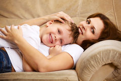 Mother and son resting Royalty Free Stock Photography