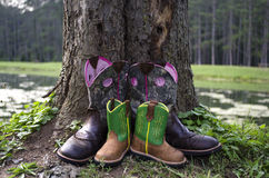 Mother and Son's Boots. Pair of cowboy boots from mother and son Stock Photography