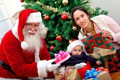 Mother and son with Santa Royalty Free Stock Image