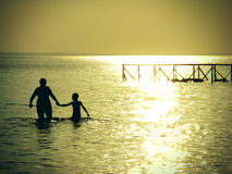 Mother and Son in the Sea Royalty Free Stock Photography