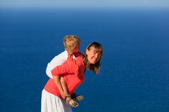 Mother and son on sea vacation Stock Photography