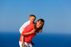 Mother and son on sea vacation Stock Images