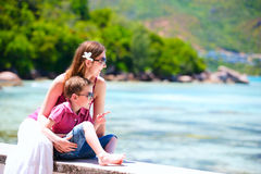 Mother and son at seafront Stock Images