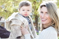 Mother and Son: Seasonal, Fall Royalty Free Stock Images