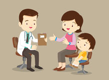 Mother and son see doctor. Vector illustration of a mom and son in doctors office.Mother and a little son visiting the doctor. The pediatrician exams babys mouth Royalty Free Stock Photos