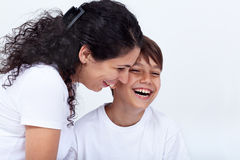 Mother and son sharing a funny moment Royalty Free Stock Photo