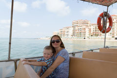 Mother and son in ship. Mother with the little son travel by a ship by sea Stock Photo
