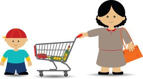 Mother and Son Shopping Stock Photography