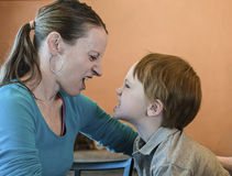 Mother and son in shouting match Stock Photo