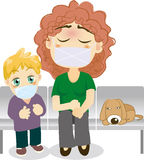 Mother and son sick. Illustration of Mother and son to see a doctor Royalty Free Stock Photography