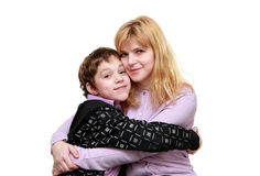Mother and son are sitting together Stock Images