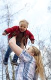 Mother, son, and sky Royalty Free Stock Photo