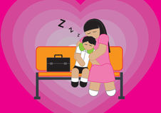 Mother and Son Sleeping Stock Photography