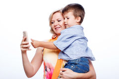 Mother and son with smartphone Royalty Free Stock Image