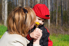 Mother and son smell dandelion Royalty Free Stock Photo