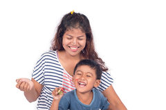 Mother and son smile and lauging. On white background royalty free stock photography