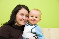 Mother with son smiling Royalty Free Stock Images