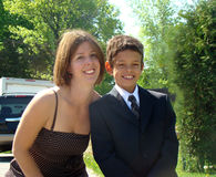 Mother and son smiling. Mother and son are dressed in formal wear and smiling Stock Images