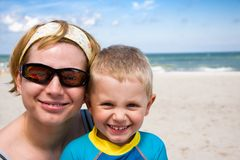 Mother and son smiling stock photography