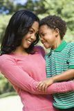 Mother and son smiling. Stock Images