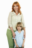Mother and son, smiling, front view, portrait, cut out Royalty Free Stock Photos