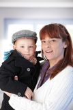 Mother and son smiling happily Royalty Free Stock Photography