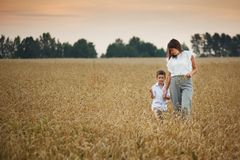Mother with son smiling holding hands in a field in summer. The concept of maternal love and tenderness, the relationship between stock photo