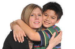 Mother and Son smiling and hugging Royalty Free Stock Photography
