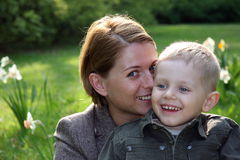 Mother and son smiling outdoors Royalty Free Stock Photography