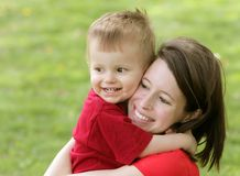 Mother and son smiling portrait Stock Photos