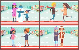 Mother and Son with Snowman Vector Illustration. Mother and son with snowman dressed in hat and scarf, couple playing snowball fight, boy and girl with mug of Royalty Free Stock Image