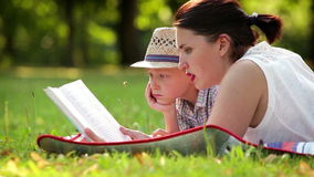 Mother and son spend their time reading on a summer afternoon in the park stock video footage