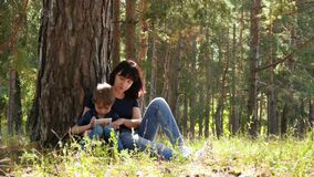 Mother and son spend time sitting by a tree in the forest. Woman and child playing in the tablet. stock footage