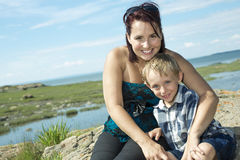 Mother son spending time outdoor stock photography