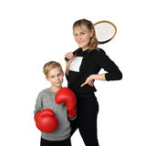 Mother and son sportsmen Stock Image