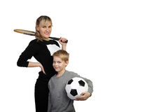 Mother and son sportsmen Stock Photos