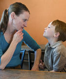 Mother-son standoff Royalty Free Stock Photography