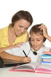 Mother and son studying Royalty Free Stock Photo